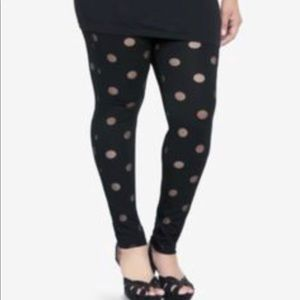 Women Leggings black sheer dots size 2X